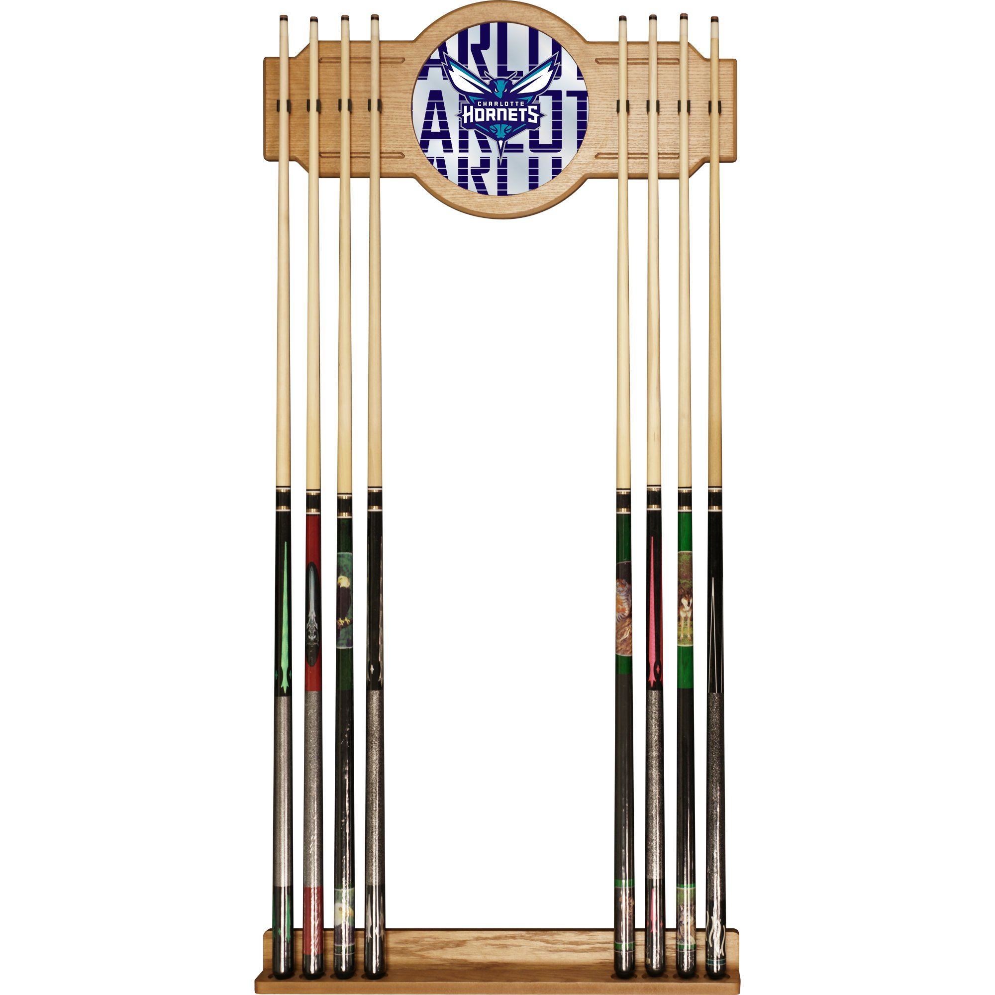 Trademark Gameroom NBA6000-CH3 NBA Cue Rack with Mirror - City - Charlotte Hornets
