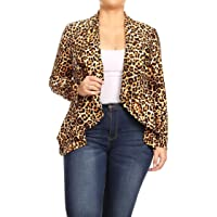 fc086107c3ea4 Women s Plus Size Solid Print Casual Long Sleeve Open Front Jacket  Blazer Made in USA