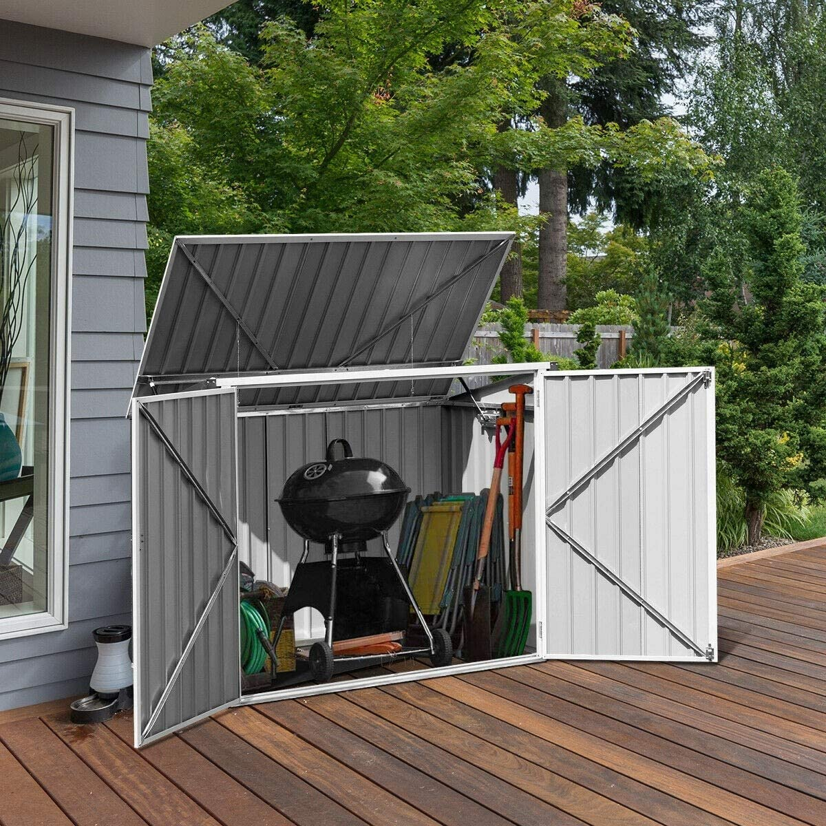 Bestdeal.shop Horizontal Storage Shed 68 Cubic Feet for Garbage Cans Galvanized Sheet Black for Backyard Garden Crafts, Pool Supplies, and Other Items.