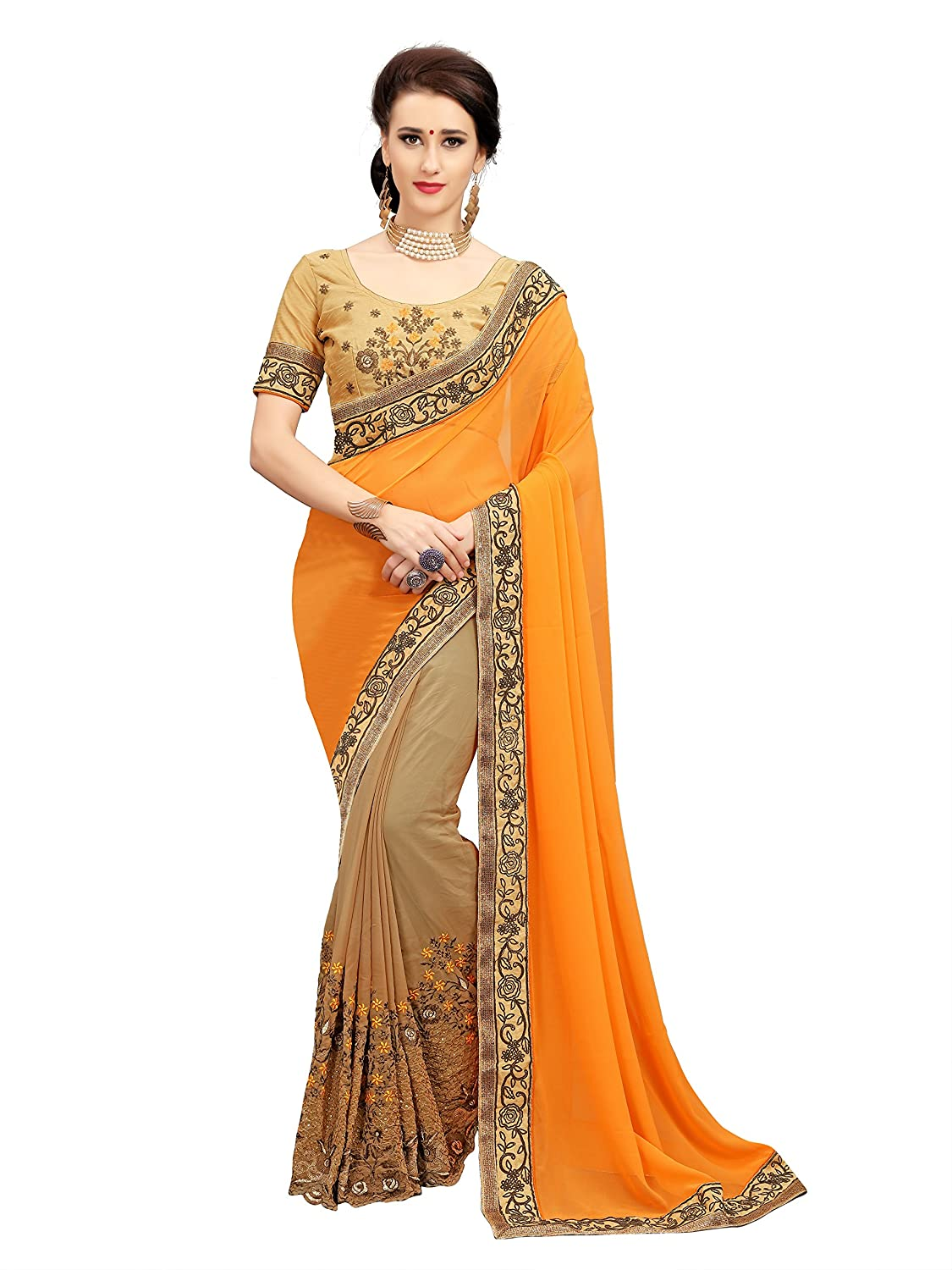 Glory Sarees Georgette With Blouse Piece