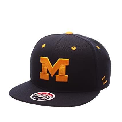 on sale 58503 d181d NCAA Zephyr-Z11-Adjustable Snapback Flat Brim-Hat Cap-Michigan Wolverines