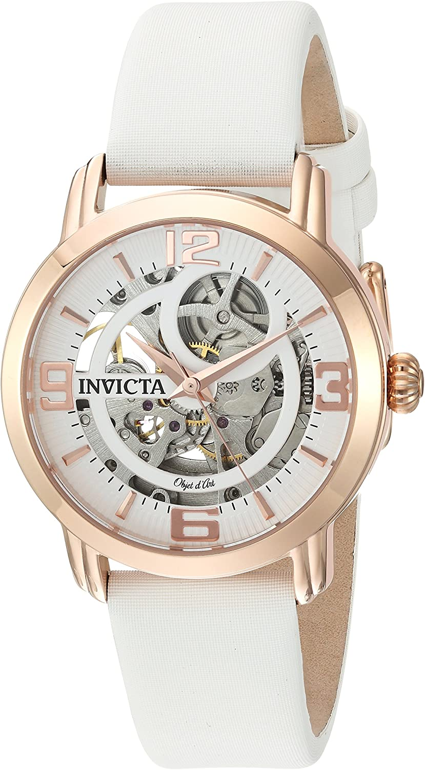 Invicta Women's Objet d'Art Stainless Steel Automatic-self-Wind Watch with Satin Strap, White, 18 (Model: 22655)