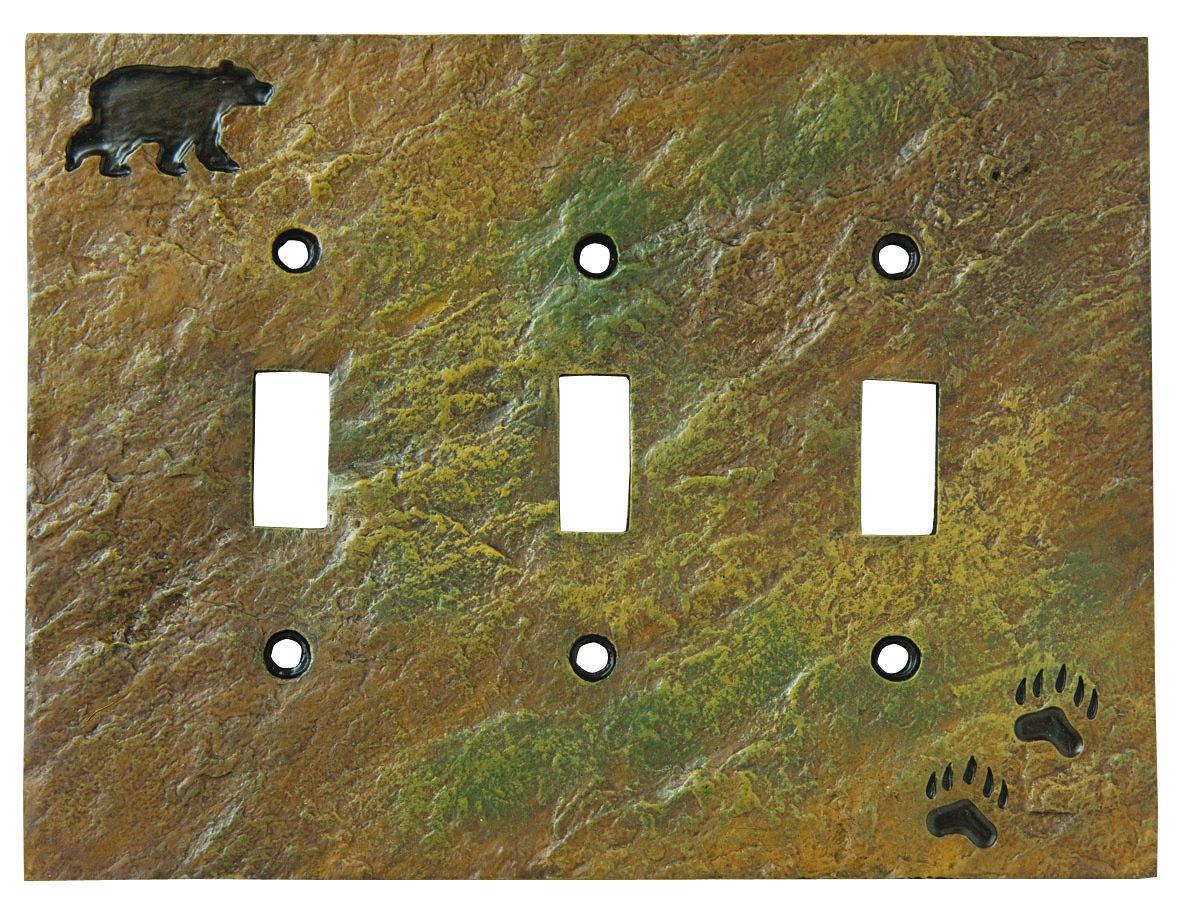 Big Sky Carvers 30170441 Bear and Tracks Triple Switch Plate