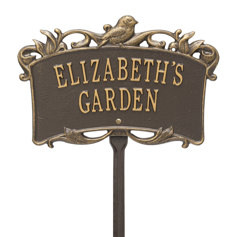 2 Line Personalized BIRD Garden Plaque