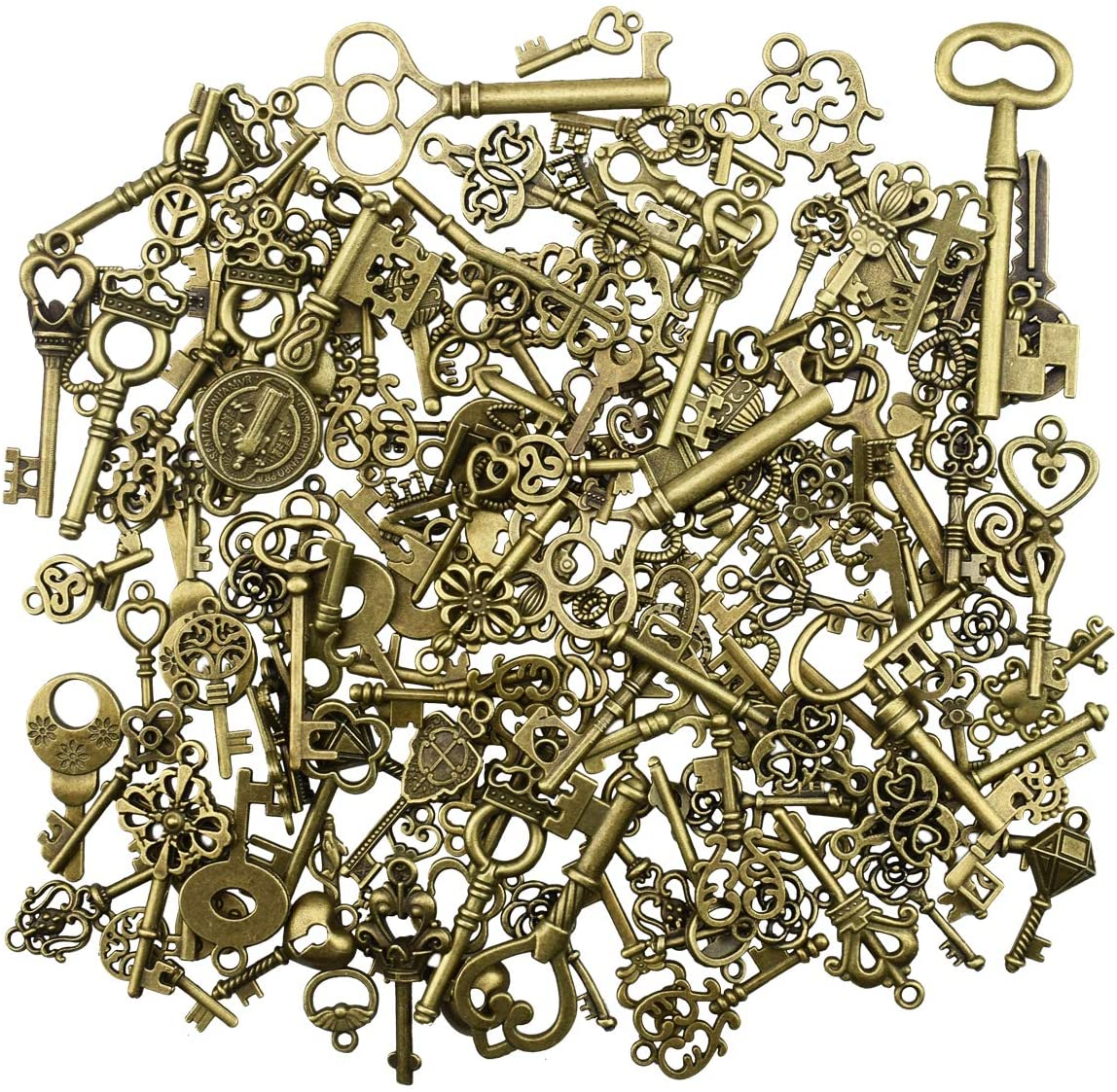 150Pcs Antique Skeleton Key Charms Pendants for Crafting Supplies Jewelry Findings Making Accessory DIY Necklace Bracelet