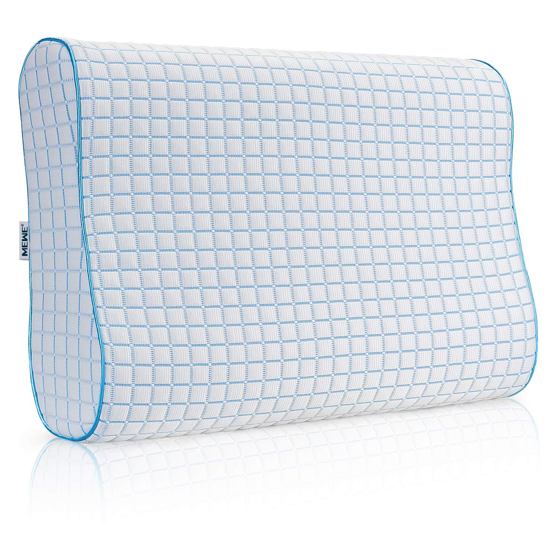 MEWE Cool Memory Foam Pillow Neck Support Cooling Gel HypoallergenicOrthopedic Ergonomic Pillow