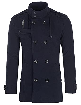 c724a7f0c PAUL JONES Men s Classic Double Breasted Wool Blends Coat Jacket at ...
