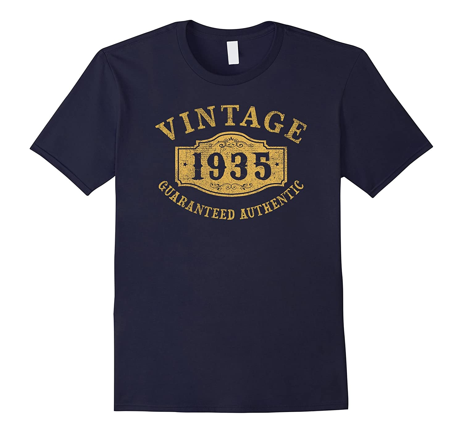 1935 Authentic 82 years old 82nd B-day Birthday Gift T-Shirt-4LVS