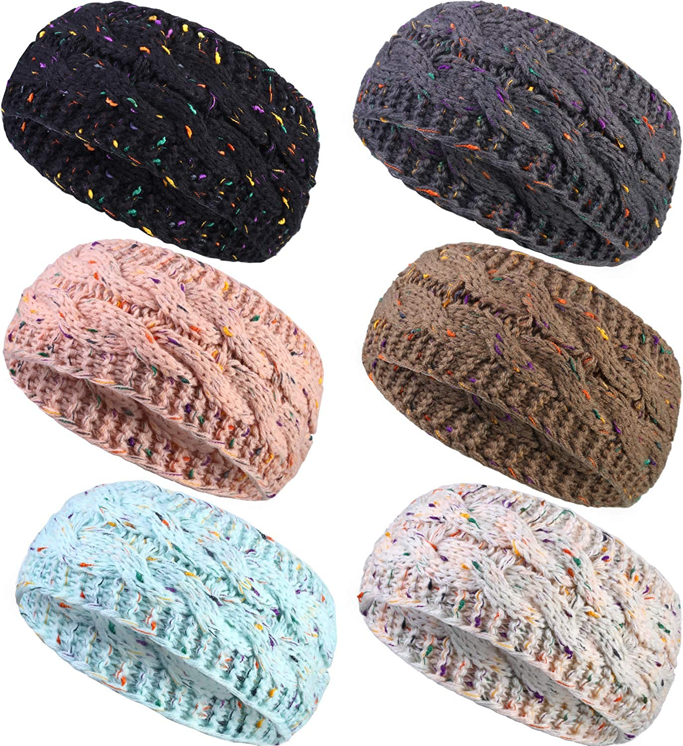 6 Pieces Winter Headband Ear Warmer Warm Cable Knitted Thick Head Wrap for Women Girls Gift