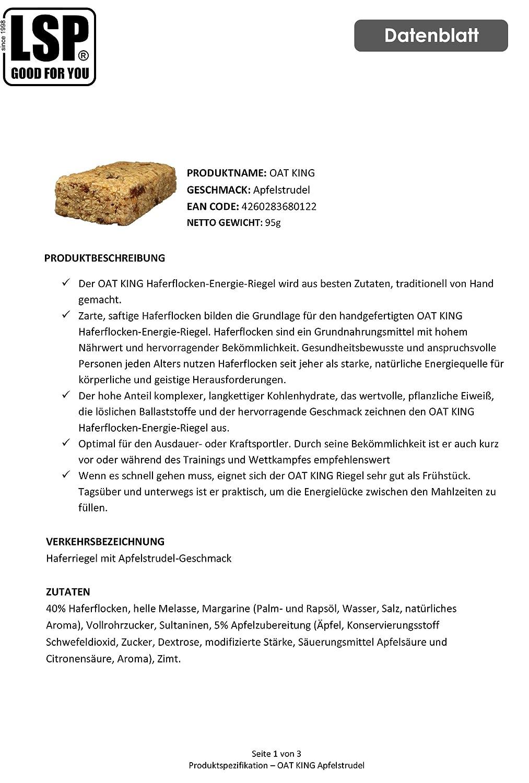 LSP Oat King Energy Bar Apple Strudel - 10 Barras: Amazon.es: Salud y cuidado personal