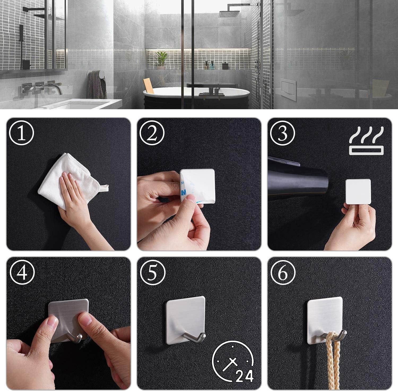Haken Selbstklebende Aikzik Handtuchhaken Badezimmer Wandhaken Edelstahl Handtuchhalter ohne Bohren f/ür Bad und K/üche