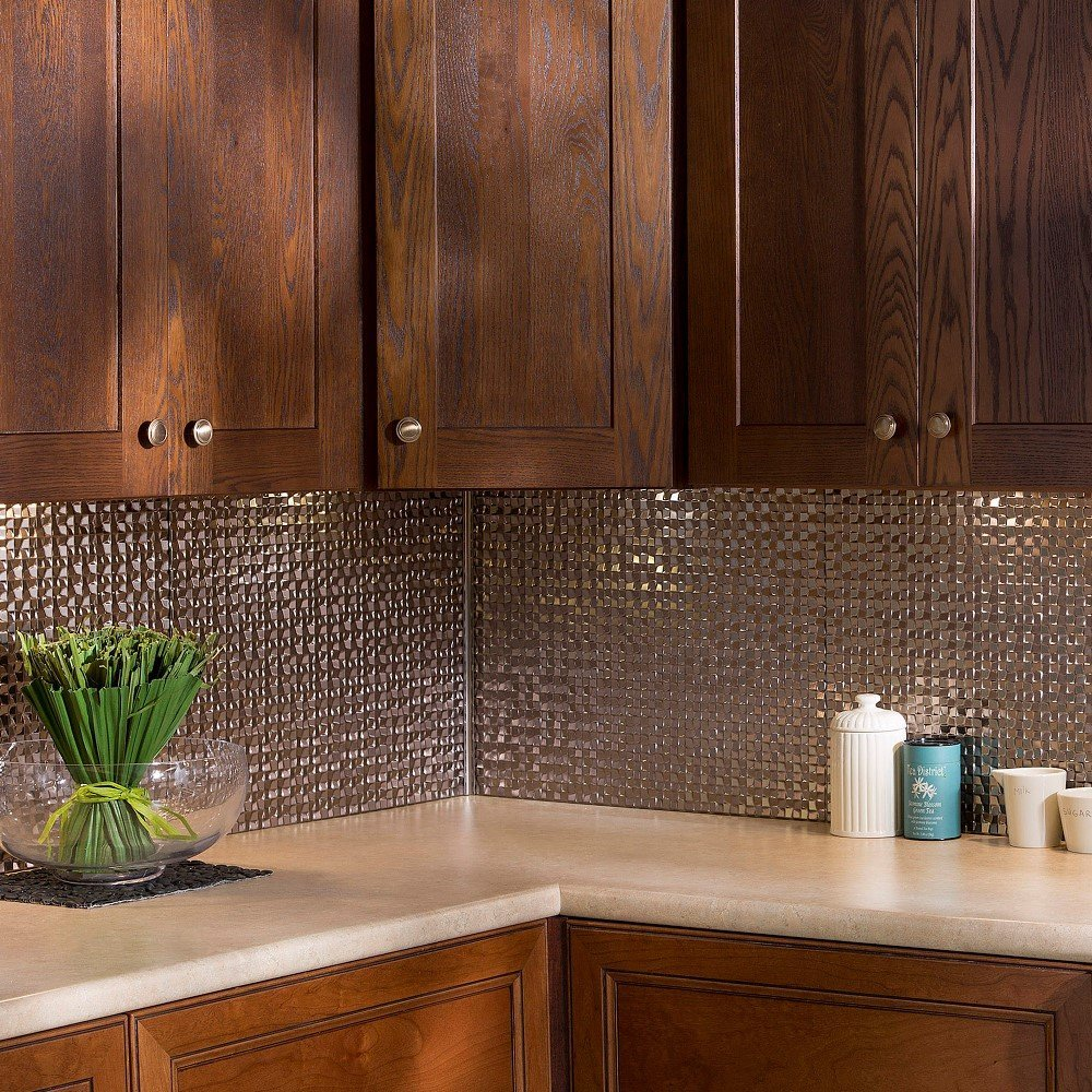 Fasade Easy Installation Terrain Brushed Nickel Backsplash Panel for Kitchen and Bathrooms (18'' x 24'' Panel) by Fasade (Image #3)