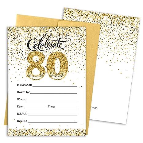 Amazon Com Invitaciones Para Fiesta De 80 Cumpleaños Color