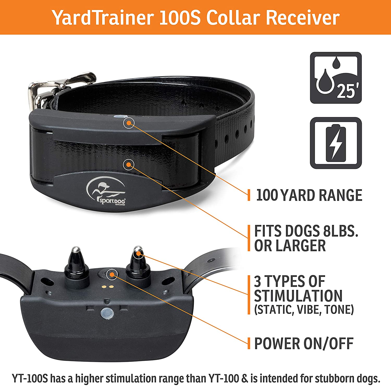 Waterproof Dog Training Collars with Shock and Tone Rechargeable SportDOG Brand YardTrainer Family Remote Trainers Vibrate