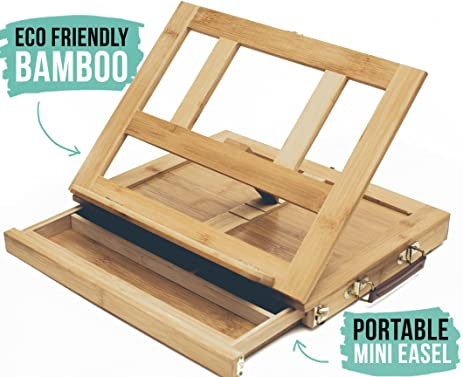 Eco Friendly Bamboo Artist Easel For Painting And Drawing   Portable  Tabletop Easel With Storage Drawer