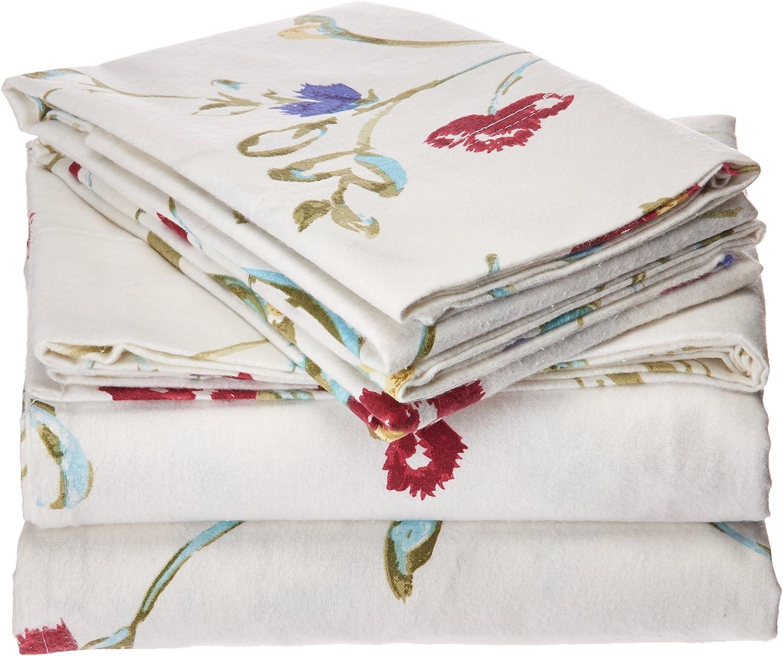 Amazon Com Tribeca Living Flannel Floral Garden 100 Cotton Deep Pocket Printed Sheet Set Home Kitchen
