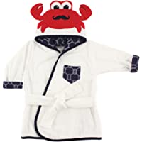 Hudson Baby Animal Face Hooded Bath Robe, Mr. Crab, 0-9 Months