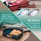 Undercover Cubes 2 Under Bed Storage Containers + 1 Organizer Bin - Underbed Storage bags with Clear Windows & Reinforced Handles by Mill & Mint, Gray