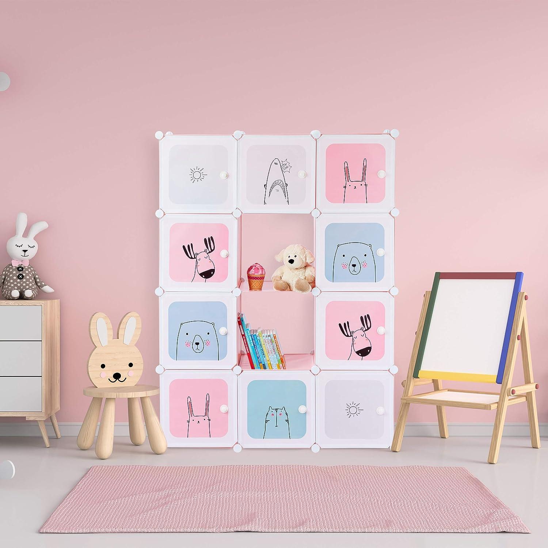 con Puertas 145x110x37,5 cm Rosa Relaxdays Estanter/ía Infantil Modular para ni/ñas Pl/ástico