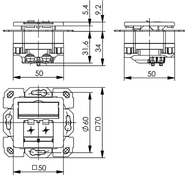 Wei/ß 3, RJ45 Teleg/ärtner Datenanschlussdose Cat6A 2-Fach 2xRJ45 J00020A0500 AMJ45 8//8 UP//50 alpinwei/ß 5 V
