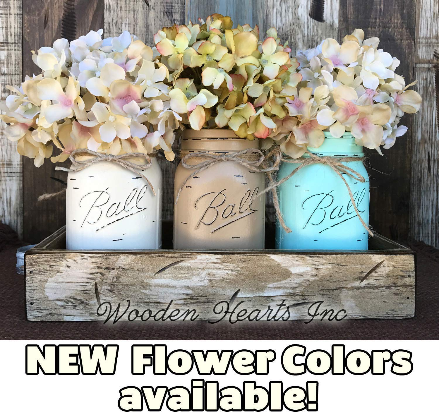 Mason Canning JARS & Wood ANTIQUE WHITE Tray Spring Centerpiece with 3 Ball Pint Jar -Kitchen Table Decor Distressed Rustic (Flowers Optional) -CREAM, COFFEE, SEAFOAM Painted Jars (Pictured) by Wooden Hearts