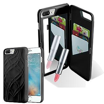 Cadorabo Apple iPhone 8 PLUS / 7 PLUS / 7S PLUS Funda Hybrid ESPEJO en NEGRO – Cubierta Protectora de Plástico e Silicone TPU con Antichoque y Espejo ...