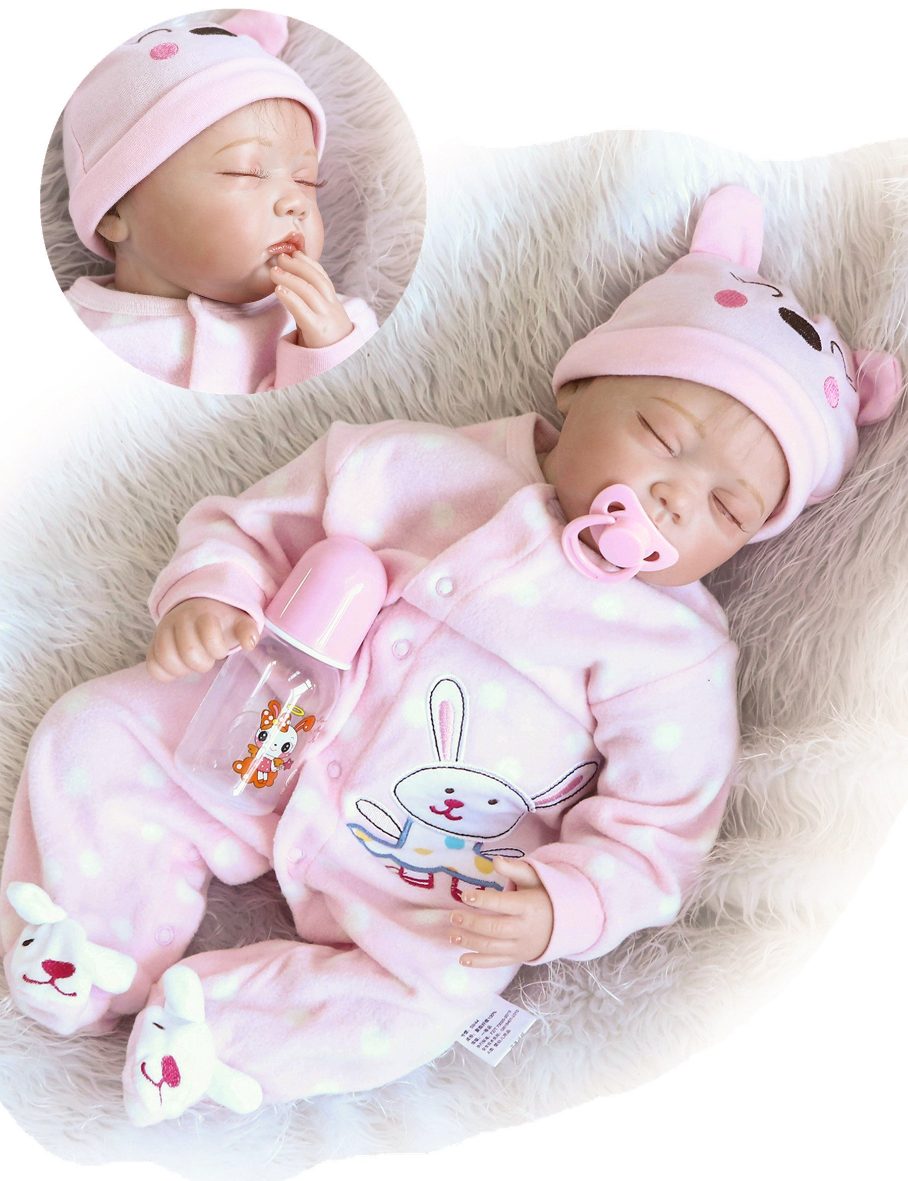 Reborn Baby Dolls Girl Soft Silicone 22 inchs 55 cm Realistic Lifelike Handmade Weighted Body Pink Rabits Outfit Eyes Closed Sleeping Gift Set for Age 3+