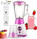 Blender 2 en 1, 800 Watts avec récipient verre 1,5 litres - Comprend aussi un moulin à café, sans Bisphénol A, couteau 4 lames en acier inoxydable, adapté pour smoothies, glace pilée, cocktails, soupes (Pink)