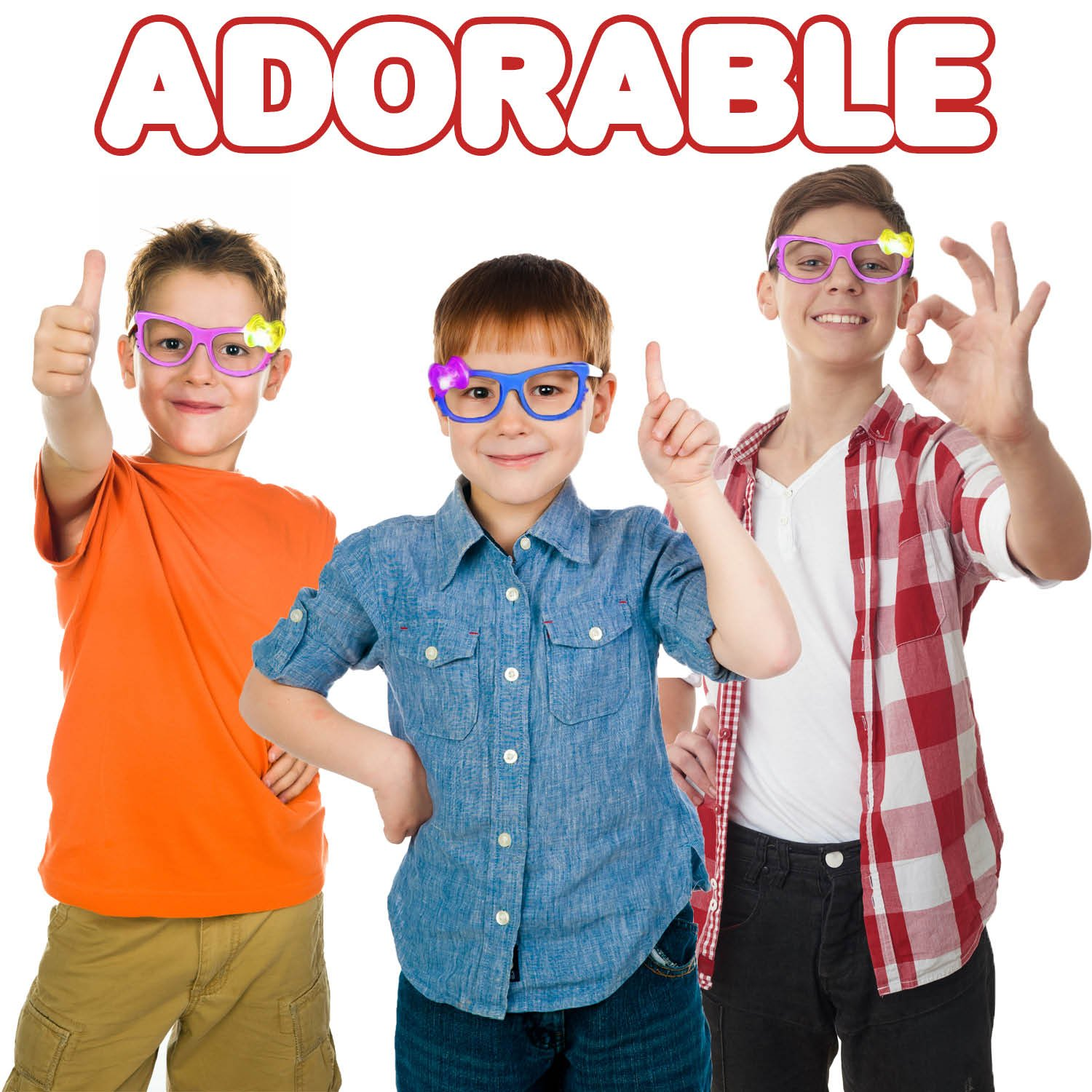 ArtCreativity 12 Light Up Bow LED Glow Eyeglasses Frames w// On//Off Button Super Durable Plastic Shades Fun Party Favors for Kids Cute Kitty Design Glasses Bright Colors Colorful Selection