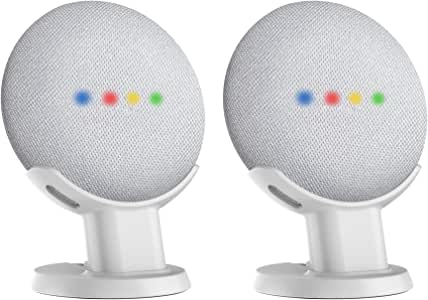 SPORTLINK Pedestal for Google Home Mini/Nest Mini (2nd gen) Improves Sound Visibility and Appearance - A Must Have Google Home Mini Accessories (White-2 Pack)…