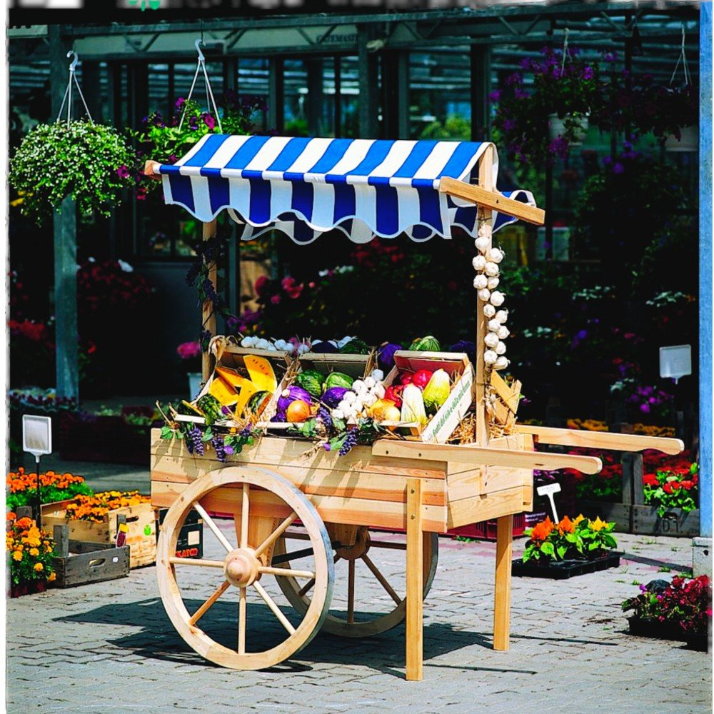 Mercado carro con o sin baldaquino venta Carrito decorativa (Madera de pino, accesorios: baldaquino verde/blanco: Amazon.es: Jardín