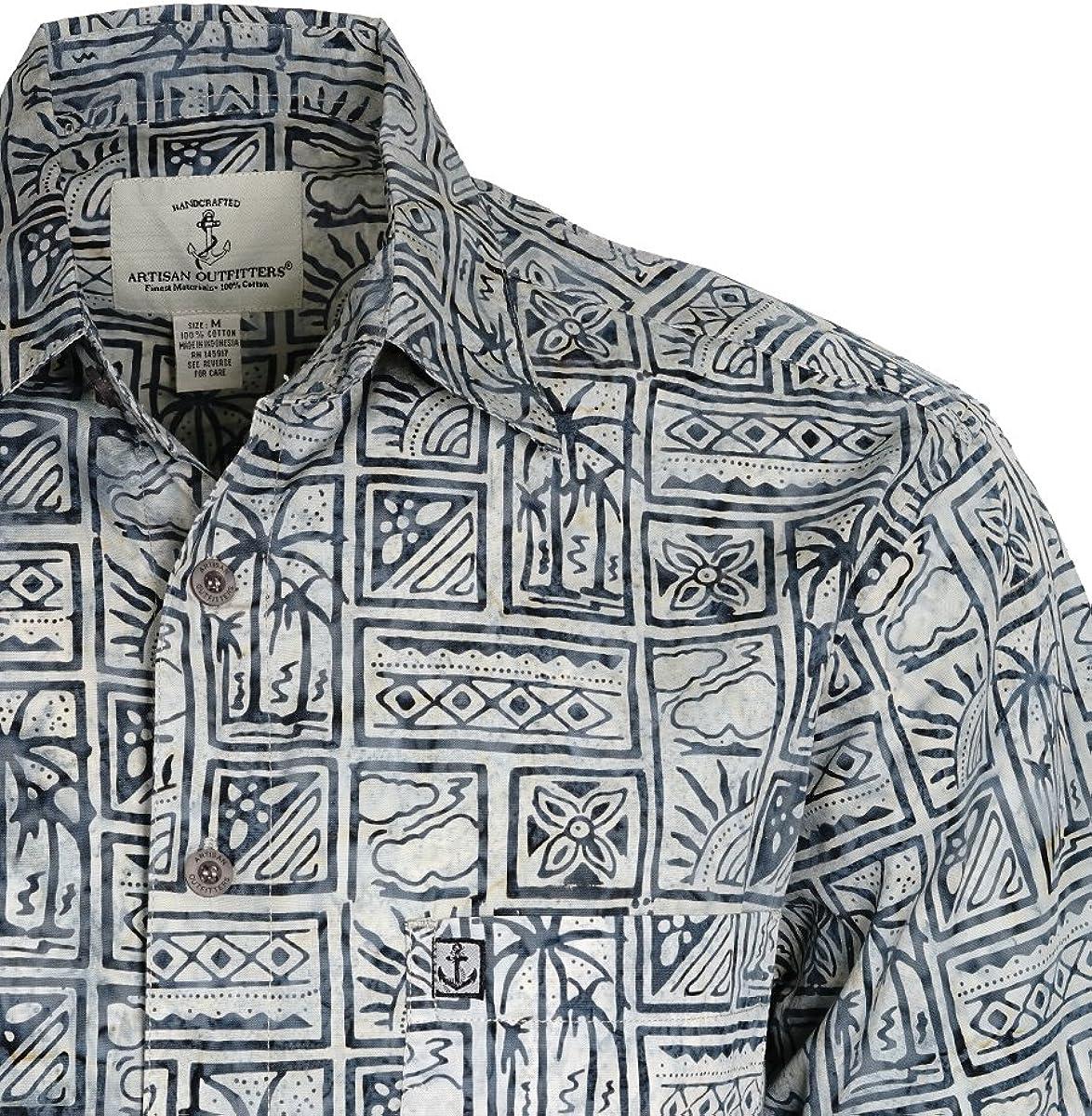 2XB, Deep Sea Blue A0214-38-2XB Artisan Outfitters Mens Oasis Batik Cotton Shirt