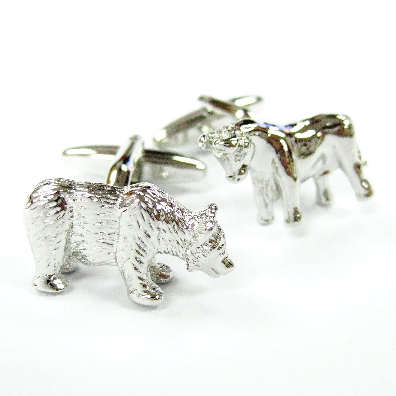 Tailor B 3D Silver Bull and Bear Cufflinks Animal Stock Market Cuff Links Finance Gemelos 105011-1
