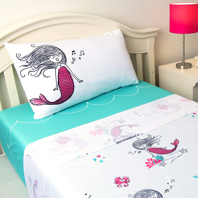 JumpOff Jo 3-Piece Hypoallergenic Microfiber Sheet Set for Kids Bedding, Twin, Moonlight Mermaid