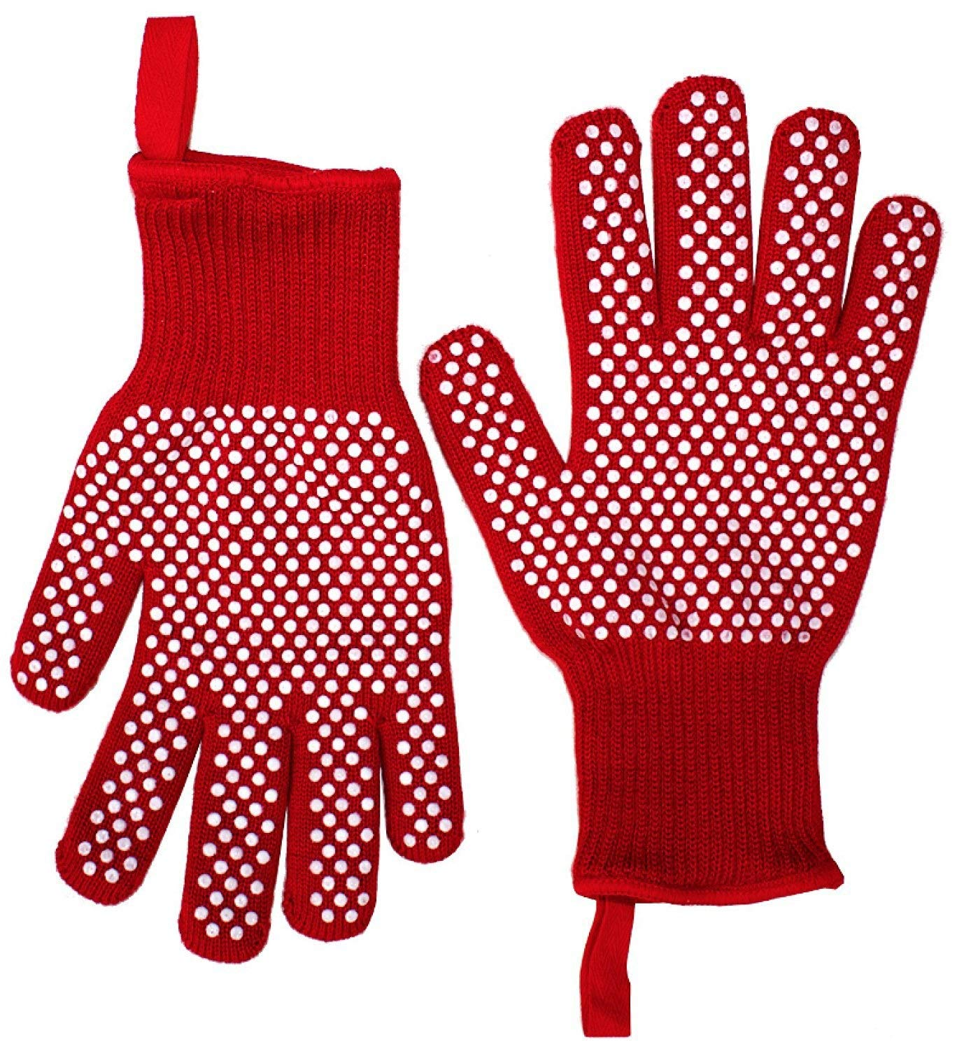 ZJYSM Comfortable Wearable Flexible Light Red Aramid Neutral High Temperature Resistant Gloves Flame Retardant Non-Slip High Temperature 500 Degree BBQ Baking Barbecue Gloves Gloves