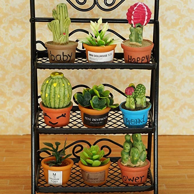 Balck 11pieces 1:12 Dollhouse Plant and Metal Flower Stand Set for Garden Decoration