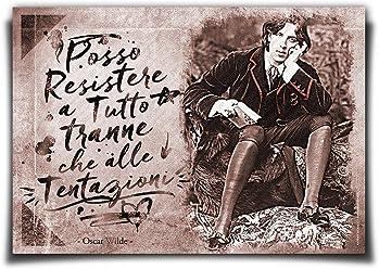Wall Sticker Poster Adesivo Murale Frasi Aforismi Oscar Wilde Posso resistere a tutto tranne che alle tentazioni   Gigio Store ©