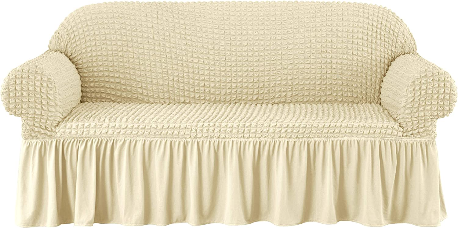 subrtex Jacquard Stretch Sofa Couch Slipcover Universal Seersucker Armchair Slipcover, 1 Piece Furniture Protector with Ruffle Skirt (Medium, Light Yellow)