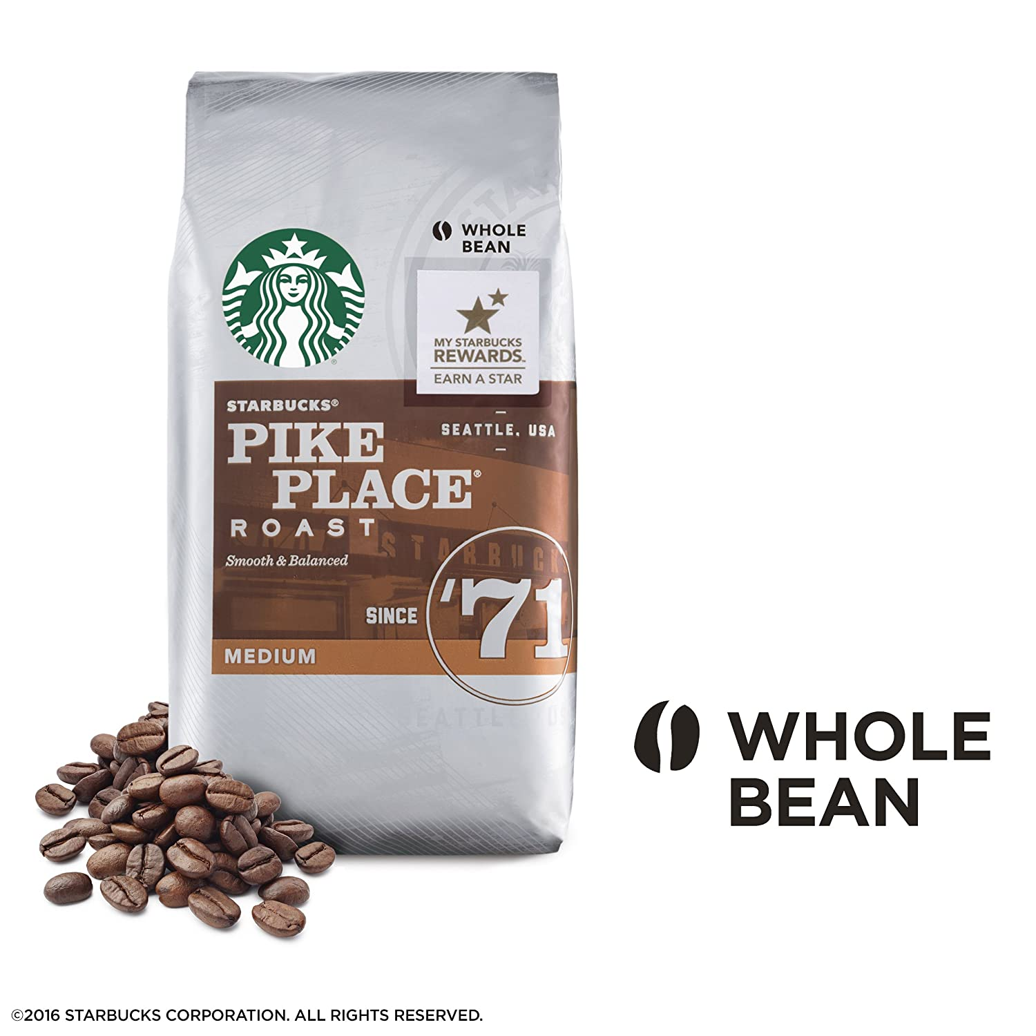 Pikes Peak Coffee >> Amazon Com Starbucks Pike Place Roast Whole Bean Coffee 1 Pound