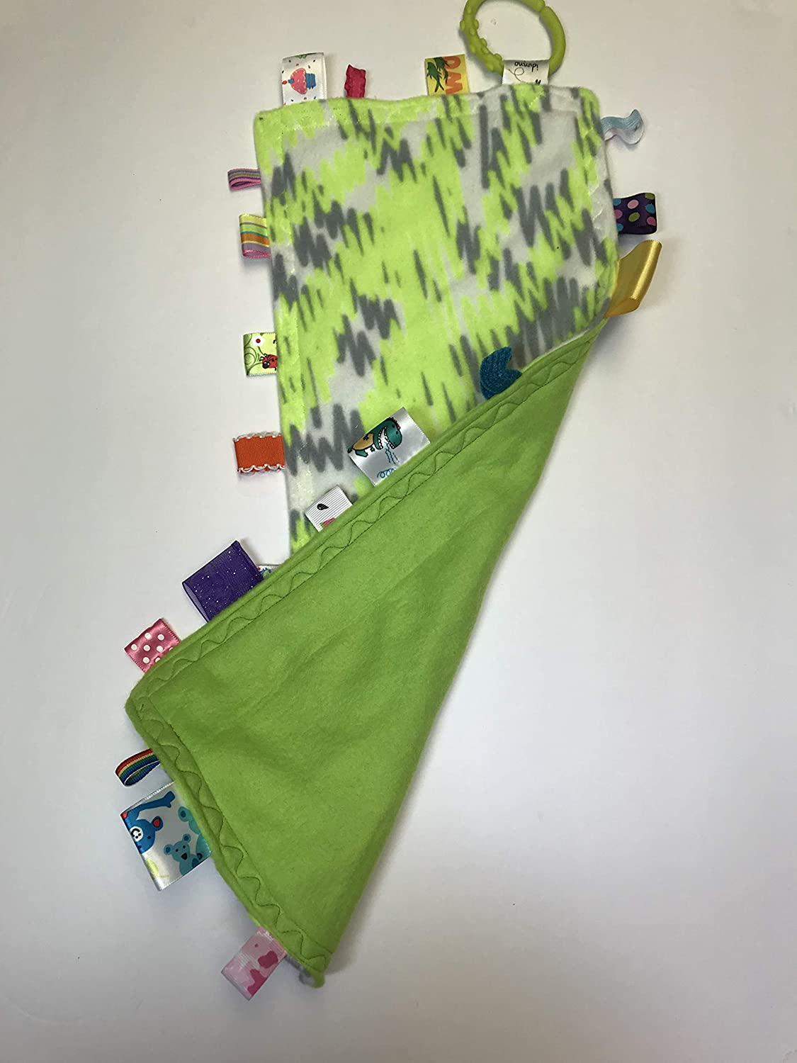 Baby Tag Blanket Lime Green /& Gray