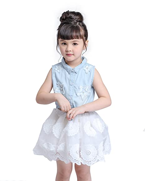 Amazon.com: kimocat bebé traje tutu Denim Vestido, Blue Jean ...