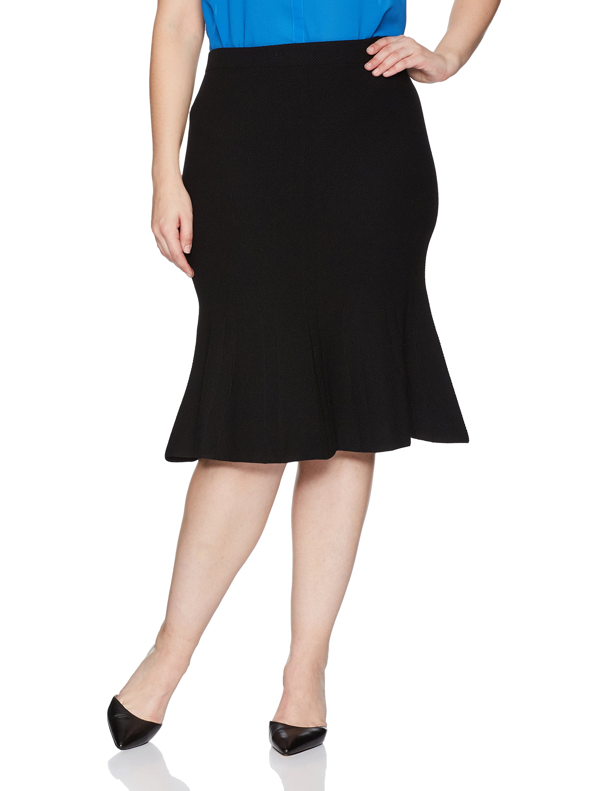 RACHEL Rachel Roy Women's Plus Size Pebble Jacq. Fit and Flare Skirt, Black, 3X