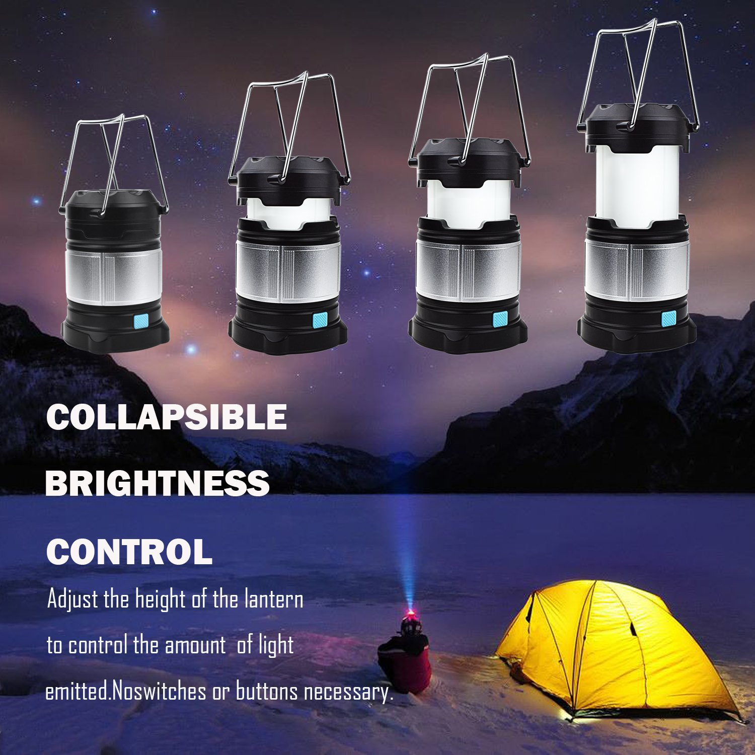 Alcoon 2 Packs Rechargeable LED Camping Lantern Light Lamp with 5600mAh Power Bank, Portable Collapsible Waterproof Outdoor Light with 18650 Li-ion Batteries for Camping Traveling Tent, Emergency by Alcoon (Image #2)