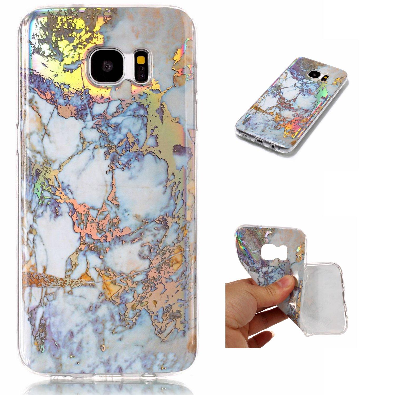 NEXCURIO Samsung Galaxy S7 Edge Case Marble Soft Silicone Shockproof Scratch Resistant Protective Cover for Samsung Galaxy S7 Edge - NEYHU10078 Purple