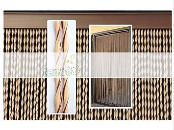 Rideau/Moustiquaire en PVC - modèle Capri - Bâtonnet D\'ALUMINIUM - Made in  Italy - Mesures Standard - (120X230, Ivoire et Marron (3))