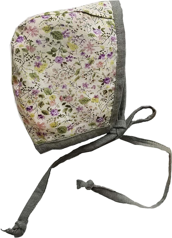 Linen Bonnet Floral Bonnet Vintage Lace Bonnet Fall Bonnet Vintage Style Bonnet