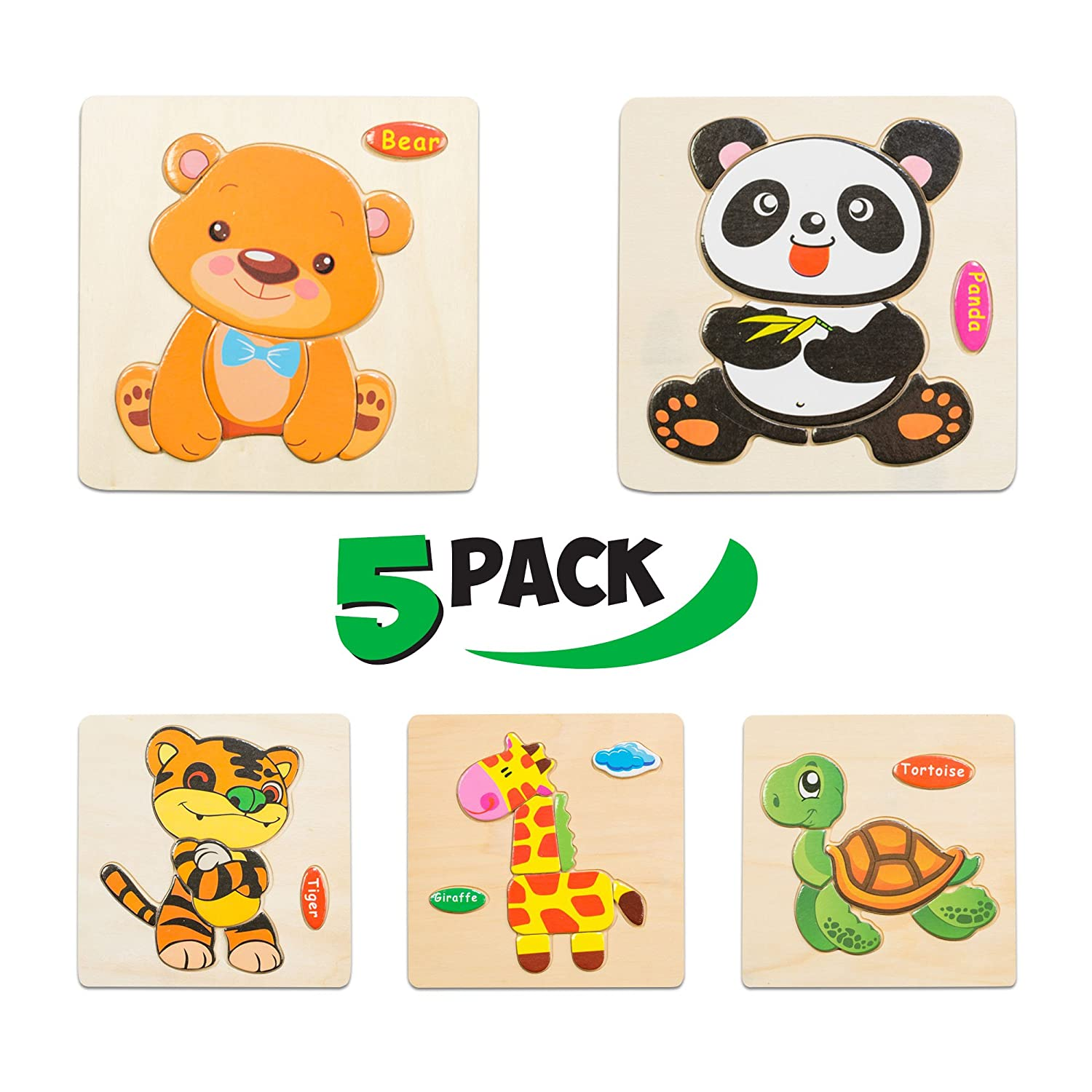 Wooden Puzzles for Toddlers - New set of 5 Kids Puzzles - Puzzles for Toddlers age 3+ Toddlers Puzzles for Boys and Girls - In the ZOO set - Tiger - Panda - Bear - Giraffe - Tortoise - 2018 NEW Ltd.