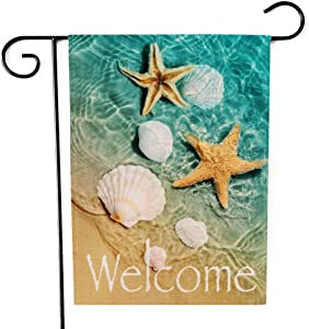 Ogiselestyle Welcome Beach Garden Flag Starfish and Seashell Double Sided Decorative Sea Small Summer Fall Yard Decor Flags for Outdoor Decoration 12 X 18 Inch