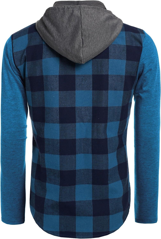 COOFANDY Mens Casual Plaid Checkered Long Sleeve Shirt Hoodie Front Pockets Shirt Jacket