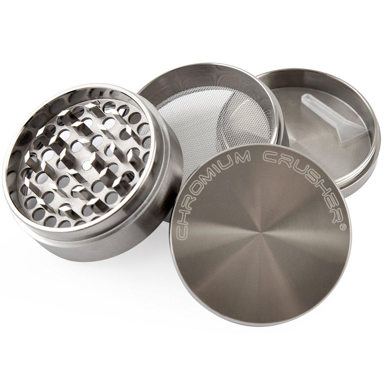 Chromium Crusher 2.5 Inch Zinc 4 Piece Tobacco Spice Herb Grinder - Gun Metal Color